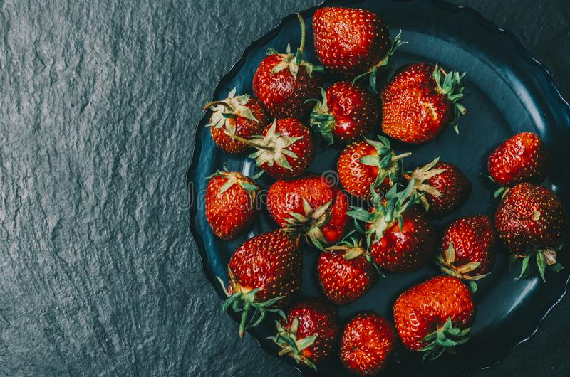 Strawberry In Bowl royalty free stock images
