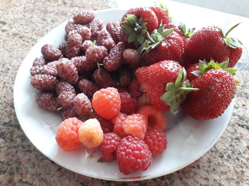 Fresh strawberry, raspberry, mulberry, fruits. Fresh red strawberry, red and yellow raspberry, white mulberry, fruits on a white plate. Sweet and tasty fresh royalty free stock photo
