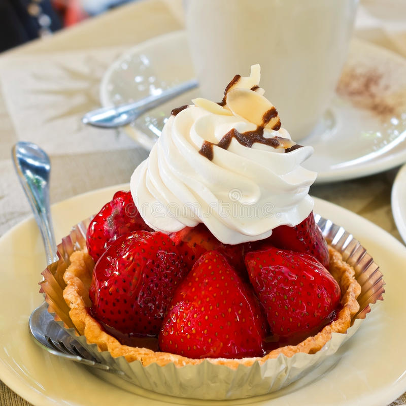 Fresh strawberry tart royalty free stock photos