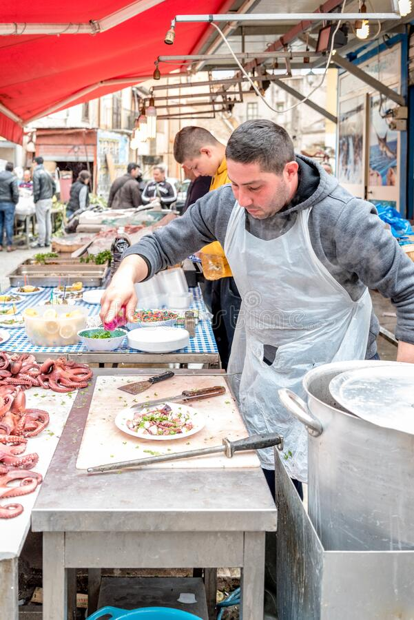 The market of Ballarò in Sicily, Italy stock photo