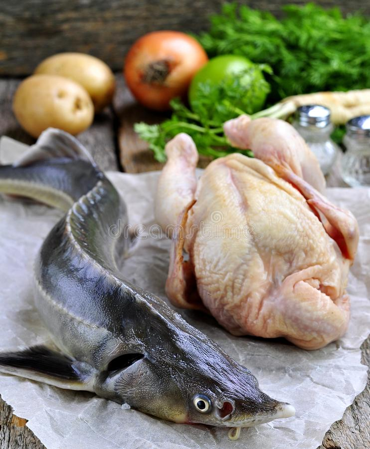 Fresh sturgeon with a young cock, vegetables and spices for cooking fish soup on a wooden background. Russian traditions. Food stock photo