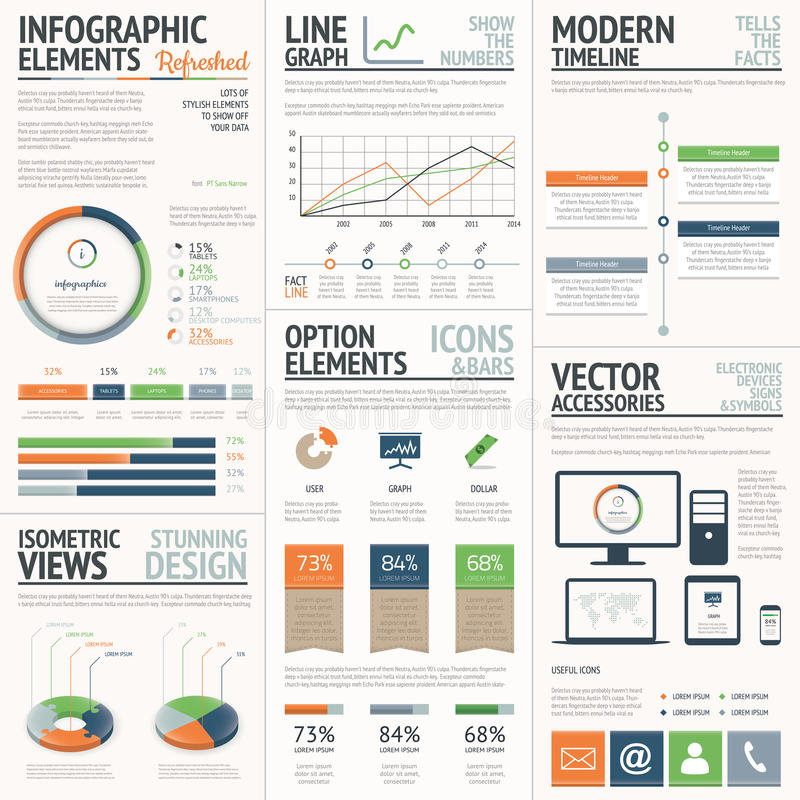 Fresh and stylish orange and green vector infograp. Hics elements eps10 royalty free illustration