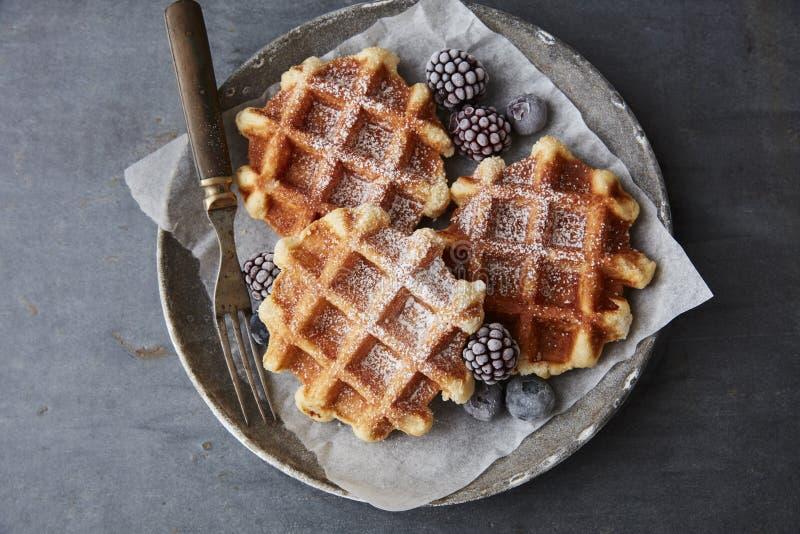 Sugar waffles with berries. Fresh sugar waffles with castor sugar stock photography