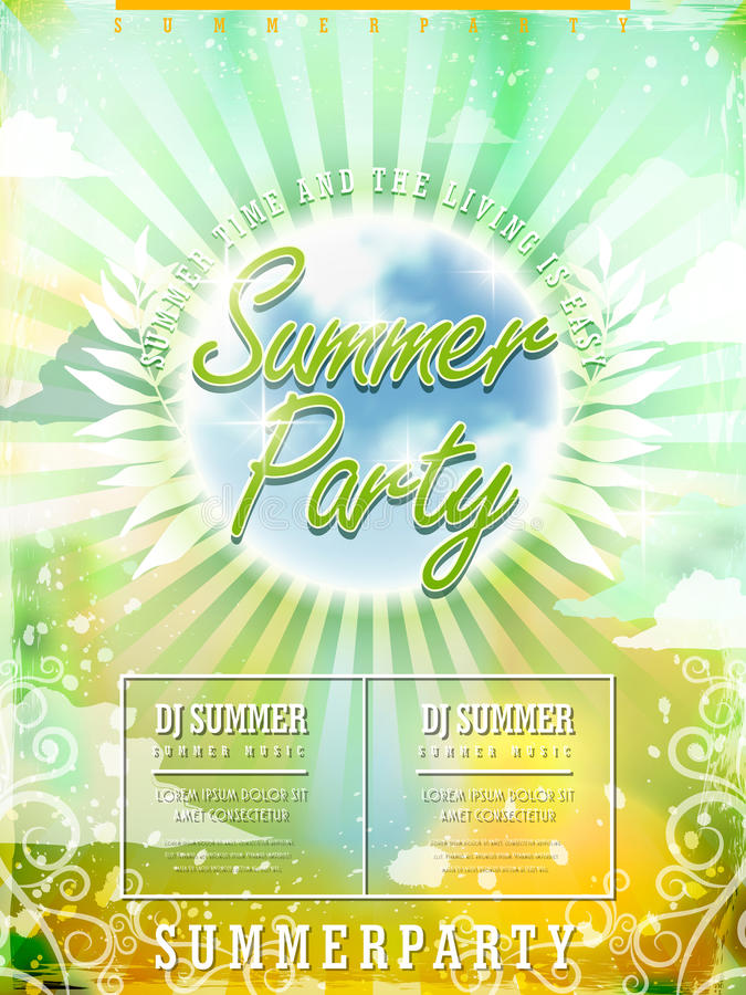 Fresh summer beach party poster design royalty free illustration