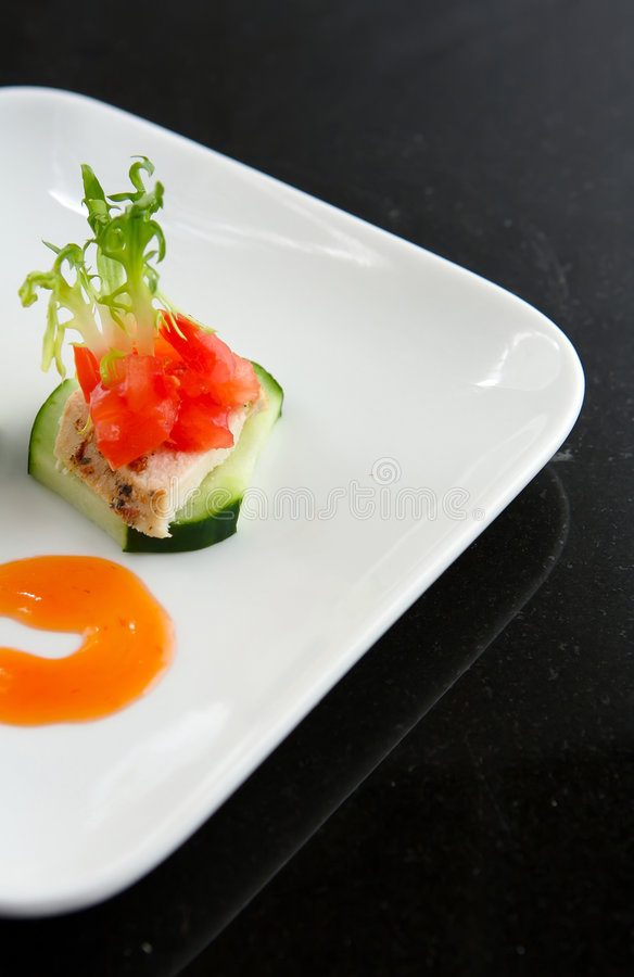 Fresh summer Chicken salad Hors d'oeuvres royalty free stock photography