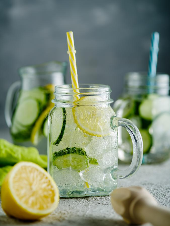 Fresh Summer Drink. Healthy detox fizzy lemonade with lemon and royalty free stock photography