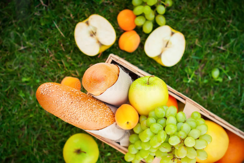 Fresh Summer Food Fruit Picnic Basket Apple Grass royalty free stock photos