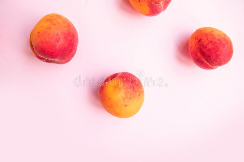 Fresh summer fruit. Flat composition of sweet juicy peaches on pink background stock photos