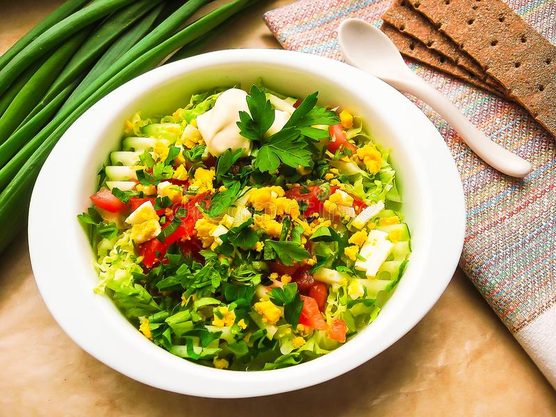 Fresh summer salad with white cabbage, cucumbers, red bell pepper, leek, boiled eggs and parsley served with mayonnaise sauce in a royalty free stock photo