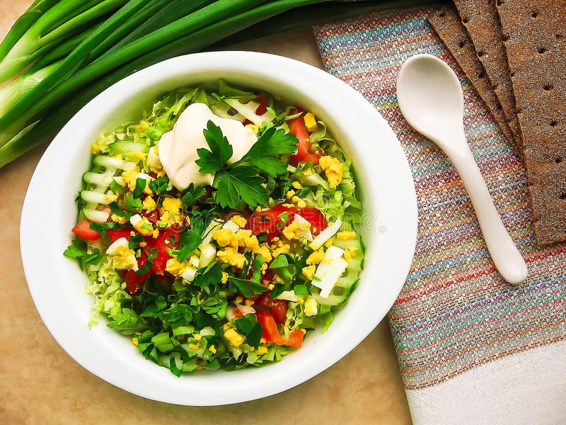 Fresh summer salad with white cabbage, cucumbers, red bell pepper, leek, boiled eggs and parsley served with mayonnaise sauce in a stock photos