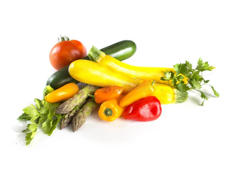 Fresh summer vegetables isolated on white background royalty free stock image
