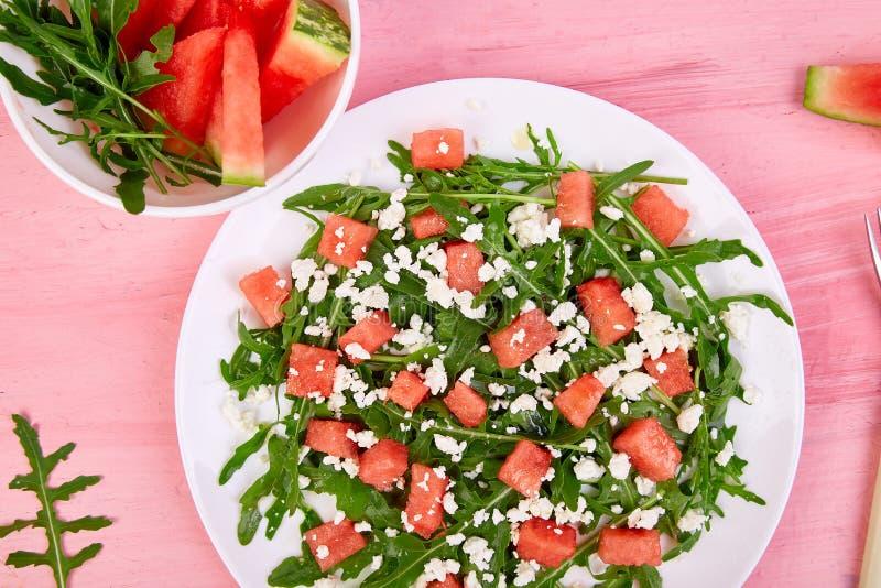 Fresh summer watermelon salad stock photos