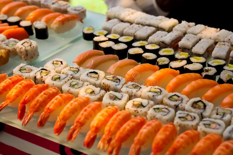 Fresh sushi for catering at a gala dinner royalty free stock photography