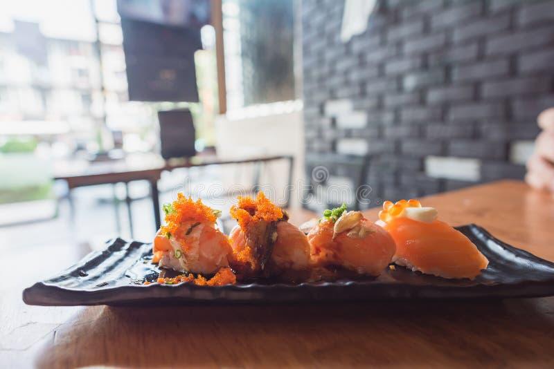 Fresh sushi in japan restuarnt stock image