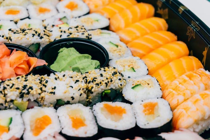 Fresh sushi rolls royalty free stock photos