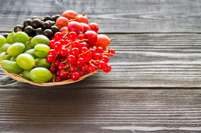 Fresh sweet berry in a basket on wooden background. Redcurrants, strawberry, gooseberry and blackcurrants stock image