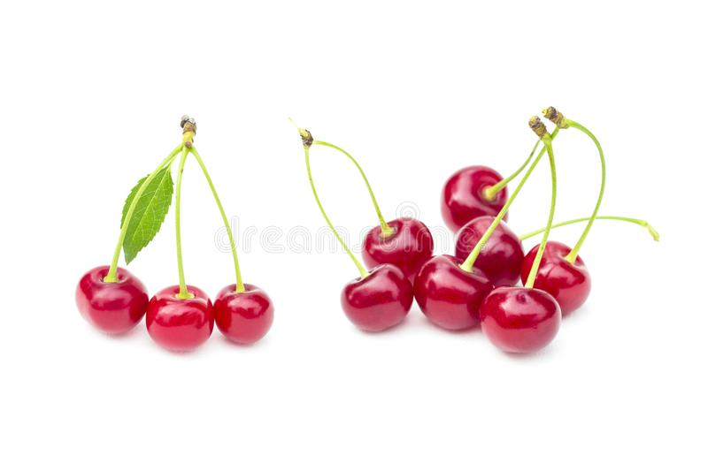 Fresh sweet cherries fruit, juicy ripe red cherry, berry, isolated on the white background stock photography