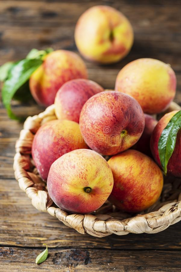 Fresh sweet peaches stock photography