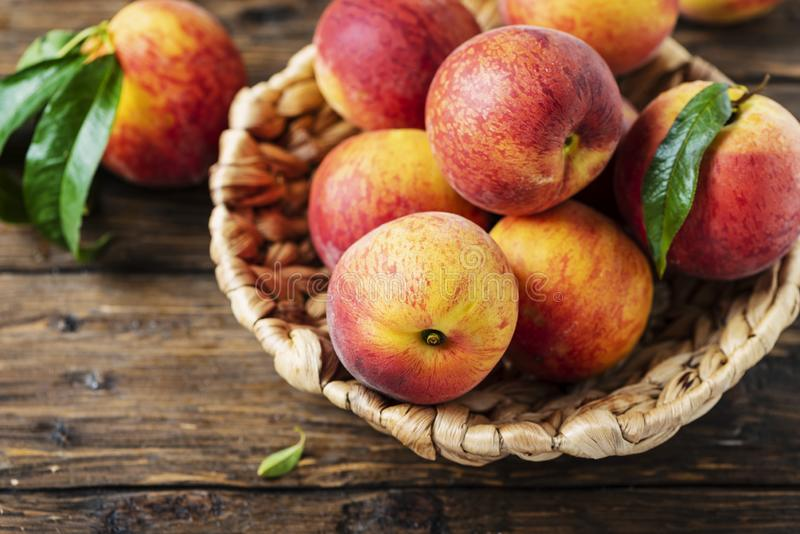 Fresh sweet peaches stock image