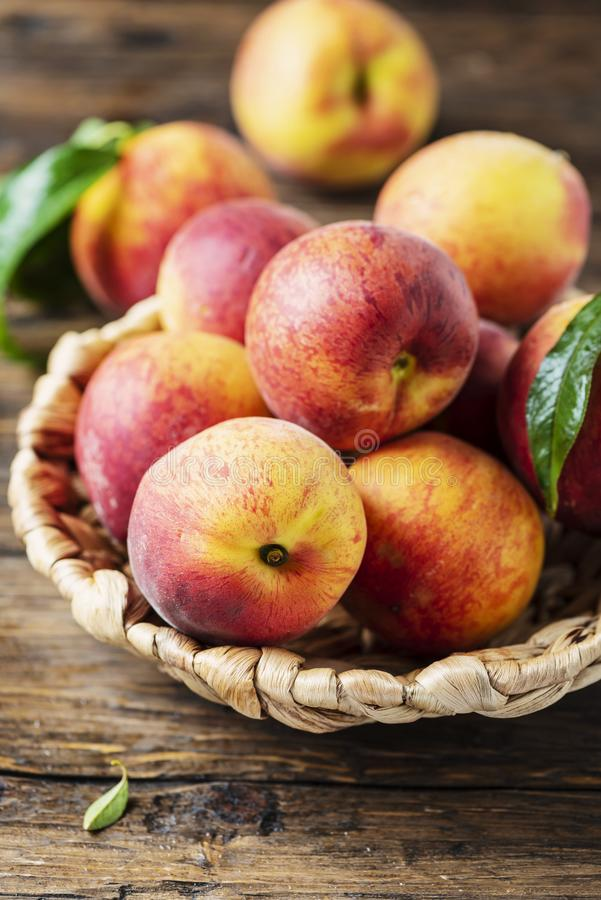 Fresh sweet peaches stock photo
