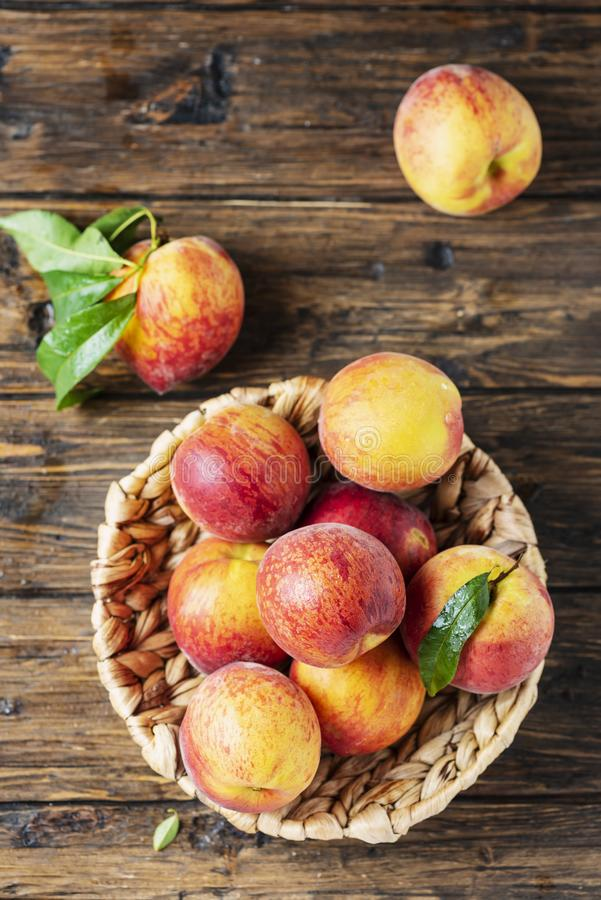 Fresh sweet peaches royalty free stock photos