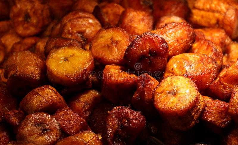 Fresh sweet plantains fried for breakfast. In Costa Rica stock image