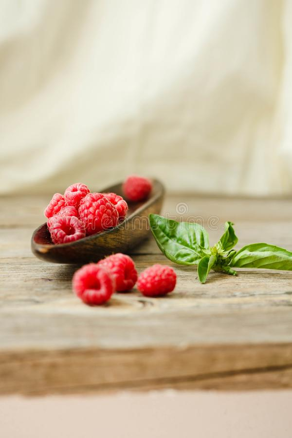 Fresh sweet raspberry and green basil in a wooden plate. Calm ga royalty free stock photography
