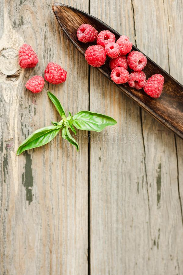 Fresh sweet raspberry and green basil in a wooden plate. Calm ga stock photos