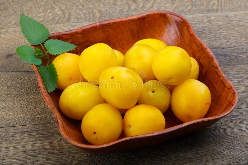 Yellow plums in the bowl stock photography