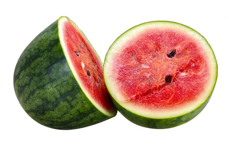 Sweet Water melon fruit isolated on white background royalty free stock photos
