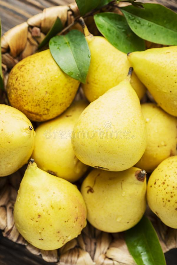 Fresh sweet yelow pears stock photo
