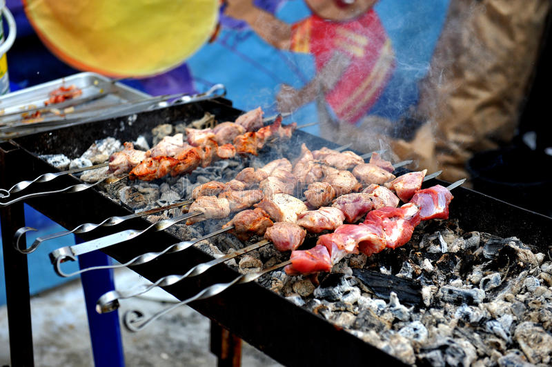 Fresh tasty barbecue with in brazier outdoors royalty free stock image