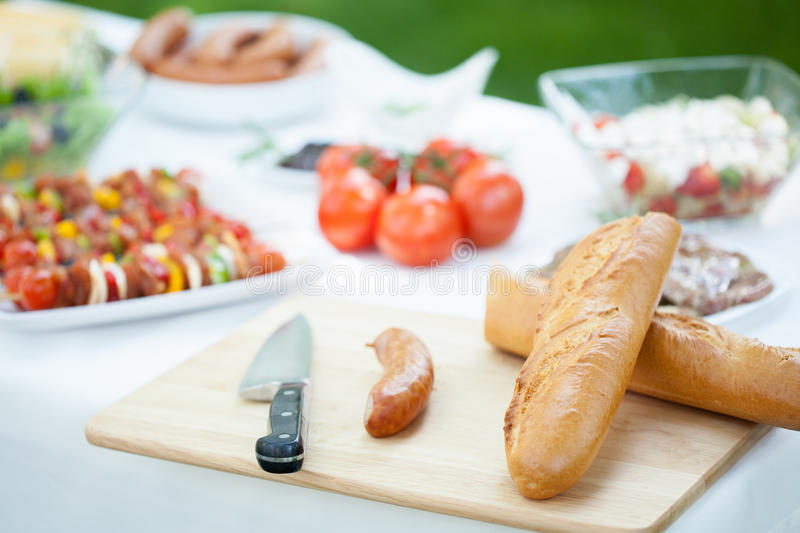 Fresh tasty barbecue dishes stock photo