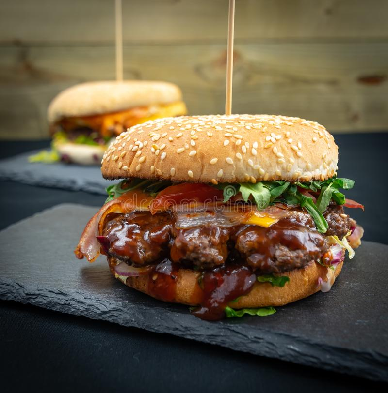 Beff Burger - Fast Food. Fresh & Tasty Beff Burger with Bacon - Fast Food royalty free stock images