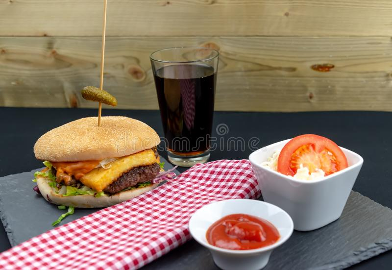 Beff Burger - Fast Food. Fresh & Tasty Beff Burger with Bacon - Fast Food stock photo