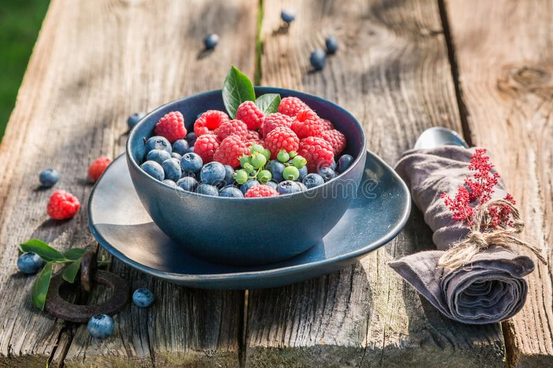 Fresh and tasty berries in blue bowl. On rustic table stock photos