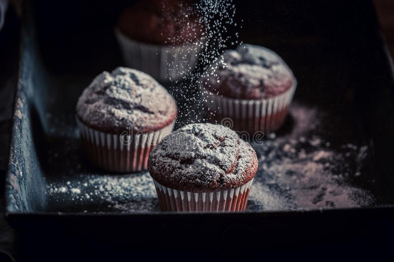 Fresh and tasty brown muffin on an old baking tray royalty free stock photos