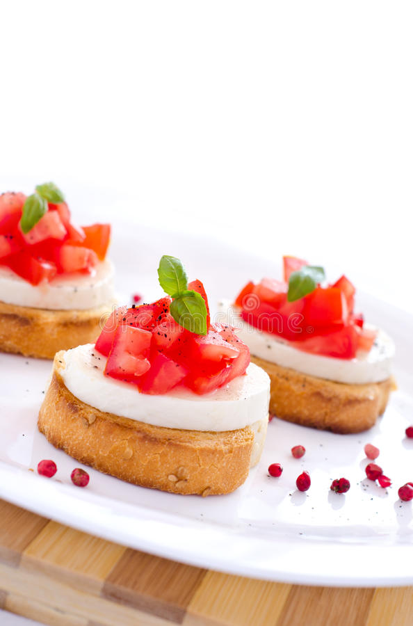 Fresh Tasty Bruschetta With Mozzarella Royalty Free Stock Photography