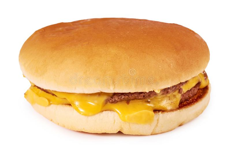 Fresh tasty burger with cheese isolated on white background. Fast food Cheeseburger stock photography