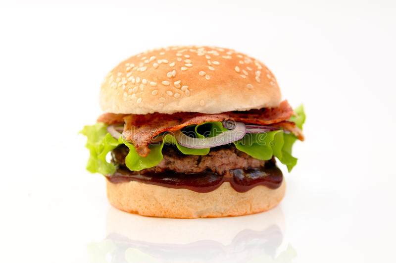Fresh and tasty burger isolated. Fresh delicious burger whith bacon and salad isolated stock photo