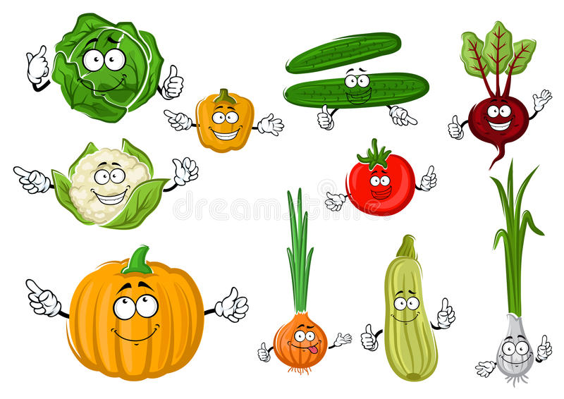Fresh and tasty cartoon farm vegetables. Fresh crunchy green cucumbers and cabbage, ripe red tomato and purple beet, sweet orange bell pepper and pumpkin, juicy vector illustration