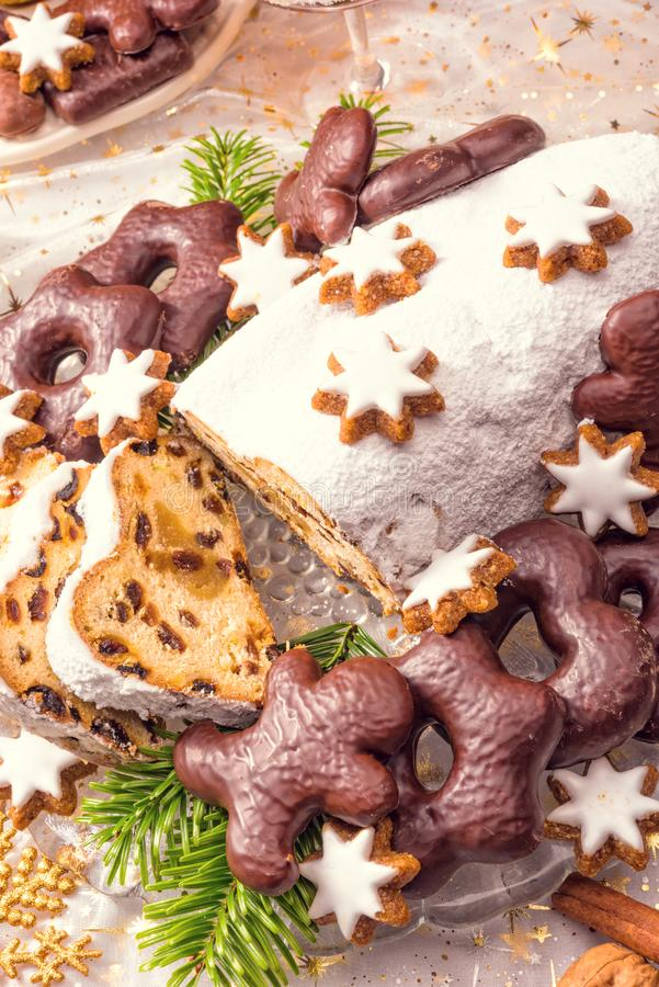 Tasty Christmas Stollen. A fresh tasty Christmas Stollen stock images