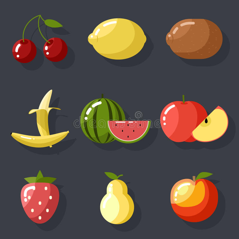 Fresh tasty fruit set apple cherry watermelon kiwi vector illustration