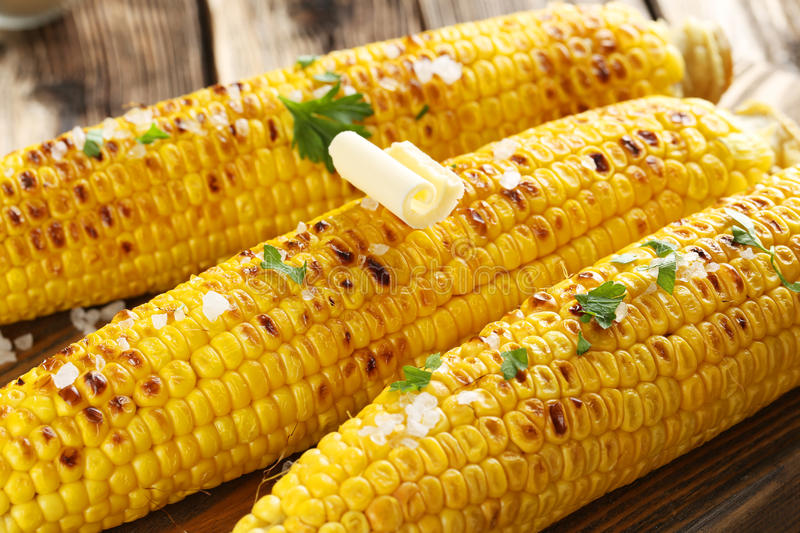 Fresh tasty grilled corn stock photo