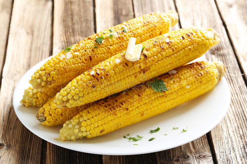 Fresh tasty grilled corn royalty free stock photography