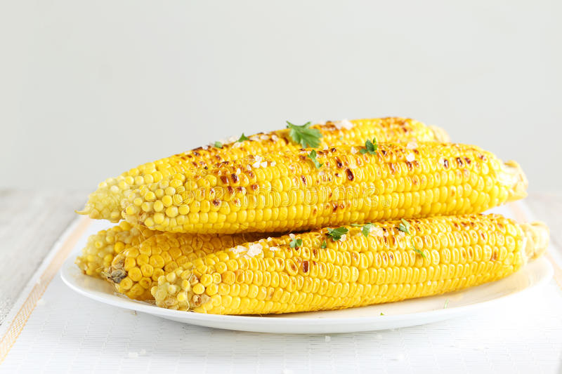 Fresh tasty grilled corn royalty free stock photo