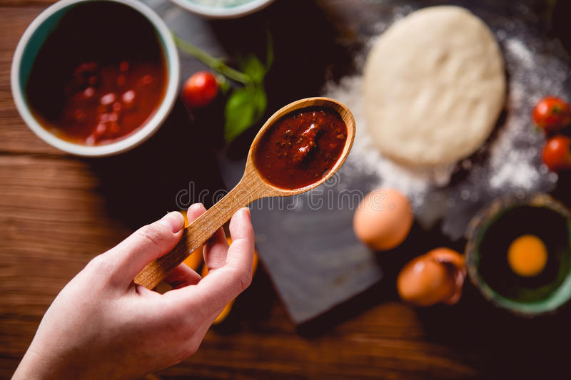Download Fresh An Tasty Homemade Pizza Preparation Stock Image - Image: 83723307