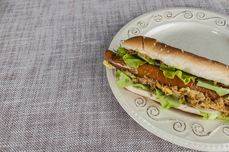 Fresh tasty hot dog with fried onions and fresh lettuce with mustard on a porcelain plate.  stock images