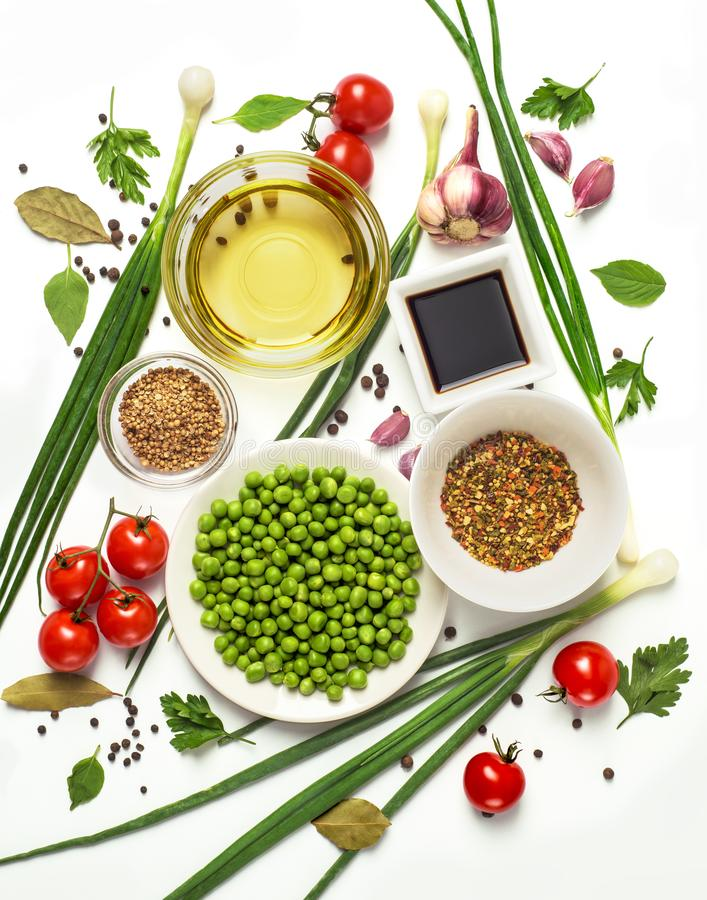 Fresh tasty ingredients for cooking healthy cooking or salad, top view, banner. Diet or vegetarian food concept stock images