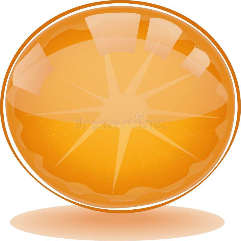 Fresh and tasty  Orange Fruit Web Button. For mobile or desktop application interface stock illustration